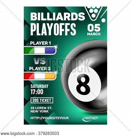 Billiards Hit And Aiming Ball Game Poster Vector. Eight Black Ball And Playing Stick Equipment For P