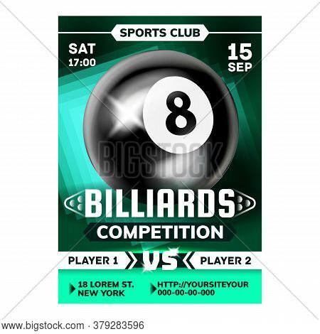 Billiard Sport Game In Bar Advertise Poster Vector. Playing Tool Black And White Ball Number Eight A