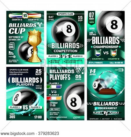Billiard Sportive Promo Leaflet Posters Set Vector. Black Ball Number Eight, Hitting Stick And Golde