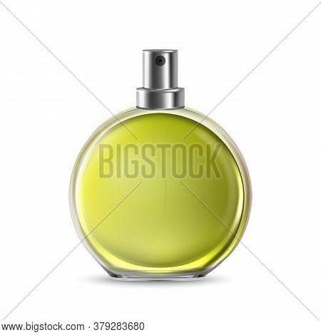 Odor Glass Bottle Sprayer For Aroma Liquid Vector. Transparent Elegant Ornamental Blank Bottle For F