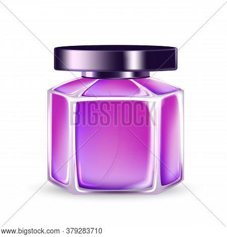 Aroma Water Perfume Glass Bottle Sprayer Vector. Fragrance Blank Bottle For Aromatic Liquid Elegance