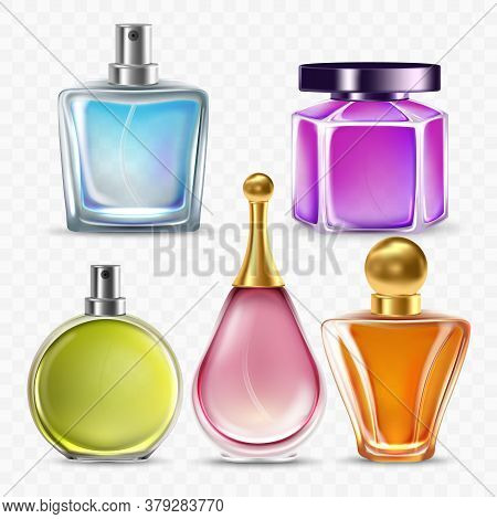 Perfume Glass Bottles Sprayer Collection Vector. Transparency Blank Perfumery Bottles In Different F