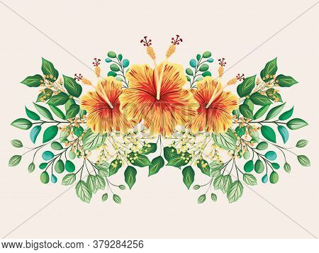 Yellow And Red Hawaiian Flowers With Leaves Painting Design, Natural Floral Nature Plant Ornament Ga