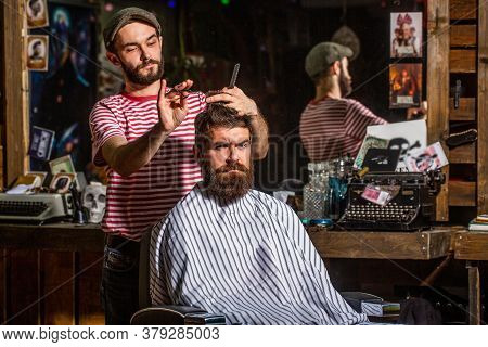 Man Hairstylist. Beard Man In Barbershop. Hairstylist Serving Client At Barber Shop, Bearded. Hairdr