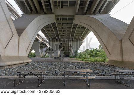 Beneath The Woodrow Wilson Memorial Bridge, Which Spans The Potomac River Between Alexandria, Virgin