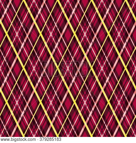 Rhombic Seamless Illustration Pattern As A Tartan Plaid In Red, Pink And Yellow Hues, Texture For Ta