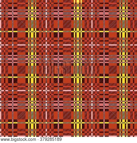 Motley Seamless Rectangular Vector Pattern As A Tartan Plaid Mainly Muted Orange, Brown And Yellow H
