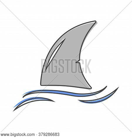 Shark Fin Vector Icon. Fin In The Water Cartoon Style On White Isolated Background.