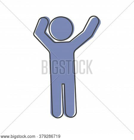 Hands Waving Gesture Silhouette Of Man. Vector Icon Gesture Cartoon Style On White Isolated Backgrou
