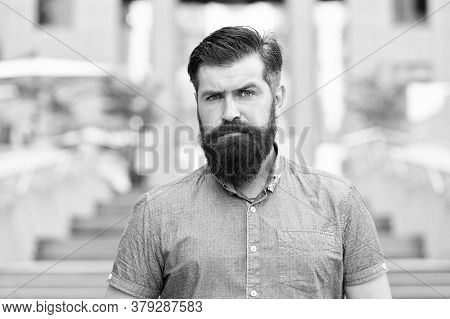 Walking Down The Street. Mature Hipster With Beard On Stairs. Bearded Man. Confident Brutal Man Walk