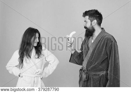 Erotic Games For Couple. Couple In Love Blue Background. Sensual Couple. Sexy Woman Look At Bearded