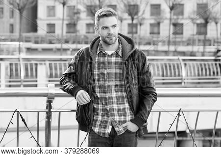 Fashionable Clothes Keep Style In. Handsome Guy With Fashionable Look On Urban Background. Caucasian