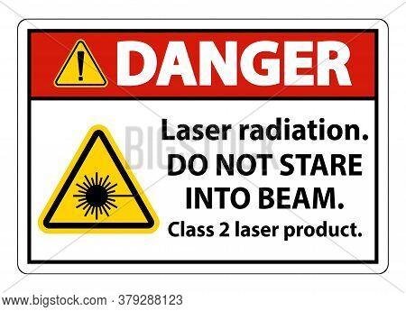 Danger Laser Radiation,do Not Stare Into Beam,class 2 Laser Product Sign On White Background