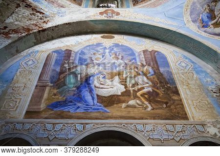 Remains Of Frescoes On The Wall Of An Abandoned Church.