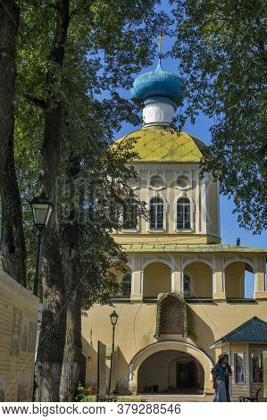 Tikhvin, Russia - July 29, 2020, The Tikhvin Monastery Of The Dormition Of The Mother Of God