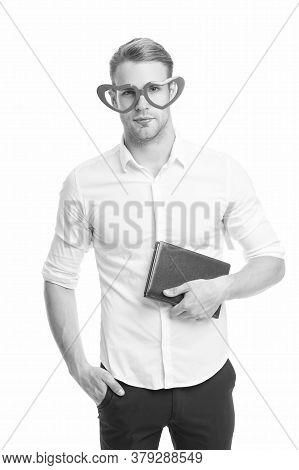 Walking Encyclopedia. Funny Man Hold Encyclopedia Isolated On White. Reading Encyclopedia Book In Fa