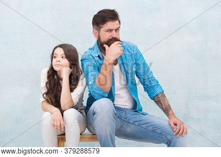 Quarrel Just For Fun. Unhappy Father Quarrel With Little Daughter. Ignoring Each Other. Conflict Or