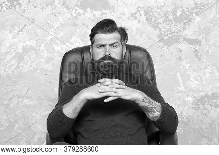 Big Boss. Confident Businessman. Businessman Sit Chair. Bearded Businessman In Office. Businessman H