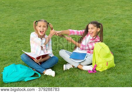 Girls School Pupils Doing Homework Together On Fresh Air, Sisters Rivalry Concept.