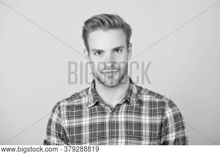 Man In Casual Checkered Shirt. Handsome Guy With Bristle On Face. Male Beauty Standard. Fashion Mode