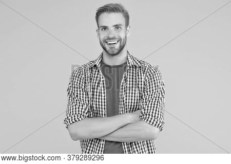 Just Smile. Happy Man Smile Yellow Background. Dental Health. Dental Hygiene. Dental Clinic. Dental