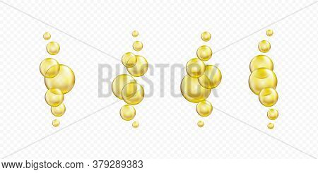 Golden Glass Ball Collection. Serum Droplet Set, Gold Oil Bubble, Vitamin Set Isolated On Transparen