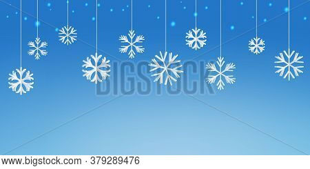 White Paper Snowflakes With The Blue Glowing Starlights. Beautiful Christmas Background. Vector.