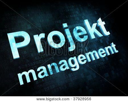 Management concept: pixelated words Projekt management on digita