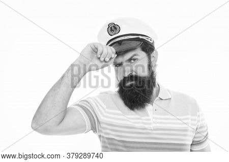 Welcome Salute. Navy Day. Tourist On Summer Vacation. Bearded Man In Captain Cap Isolated On White.