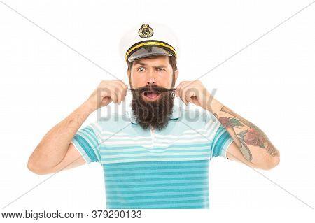 Man Cheerful Captain Sailor Hat Trip Around World, Ocean Wanderer Concept.