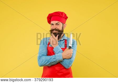 Satisfied Bearded Chef. Brutal Butcher In Apron. Best Menu Offer. Confident Bearded Happy Chef Red U