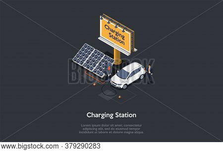 Eco City Concept. Modern Beautiful Car Charging Station With Alternative Energy Sources. Driver Char