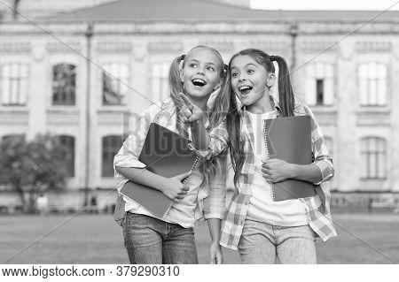 Best Friends Forever. Happy Friends Back To School. School Friends Smile Outdoors. Little Friends Ho