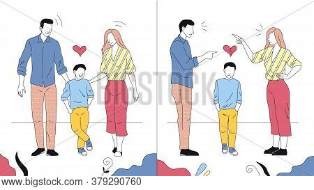 Relationship In Family Concept. Compare Of Happy And Unhappy Families. Child Is Suffering Because Of