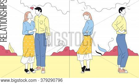 Concept Of Relationships In Family. Comparing Of Happy And Unhappy Couples. Scenes With Good And Bad