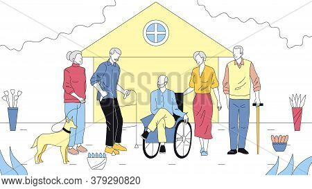 Concept Of Elderly People Care. Group Of Elderly People In Wheelchair And With Walkers, With Family