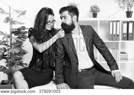 Seductive Colleague. Flirting With Boss. Man And Woman Business Colleagues. Office Flirt. Career Com