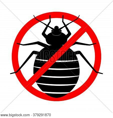 No Bed Bugs. Anti Bedbug. Insect Prohibition Sign. Pest Control Sign. Cimicidae Icon. Red Crossed Ci
