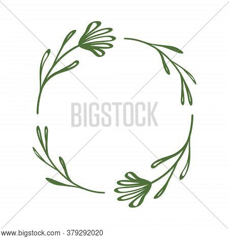 Simple Wreath With Flowers And Leaves. Floral Frame With Linear Elements In Doodle Style. Elegant Bo