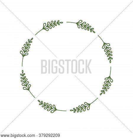 Elegant Round Frame Of Green Twigs With Leaves. Laconic Stylish Wreath. Minimalist Border. Design Te