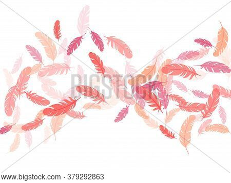 Paradise Pink Flamingo Feathers Vector Background. Detailed Majestic Feather On White Design. Angel