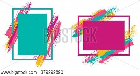 Abstract Frames With Paint Brush Strokes Vector Collection. Box Borders With Painted Brushstrokes Ba