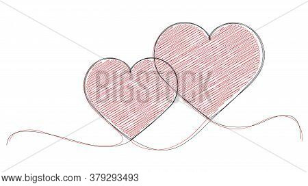 Pair Of Vector Hearts Silhouettes In Continuous Line Hand Drawn Style.