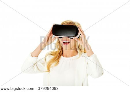 Business woman with VR headset glasses device. Communication and look by virtual reality concept.