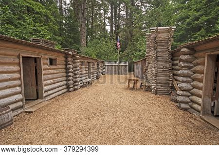 Historical Fort Clatsop Replica In The Woods Of Lewis And Clark National Historical Park In Oregon