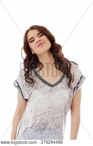 The portrait of young beautiful woman on white background.