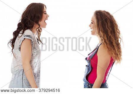 Two agressive women having argue fight. Female violance concept.