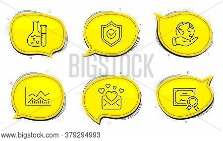Approved Shield Sign. Diploma Certificate, Save Planet Chat Bubbles. Love Mail, Chemistry Lab And Tr