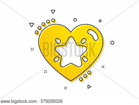 Love Rating Sign. Ranking Star Icon. Best Rank Symbol. Yellow Circles Pattern. Classic Ranking Star