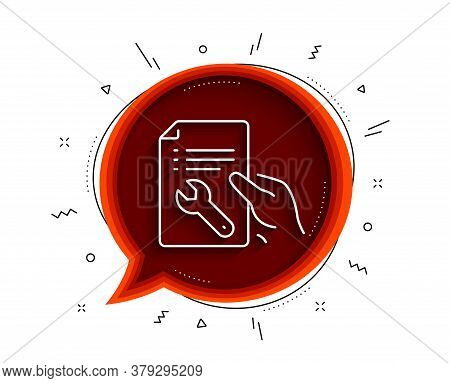 Spanner Tool Line Icon. Chat Bubble With Shadow. Repair Service Document Sign. Fix Instruments Symbo